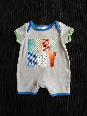 Baby clothes BOY newborn 0-1m grey+motif soft cotton romper all-in-one SEE SHOP!