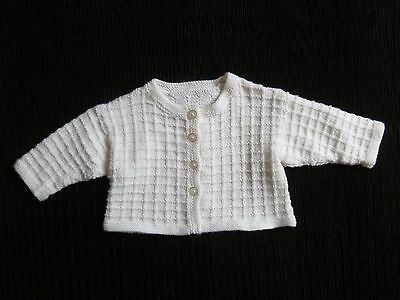 Baby clothes BOY/GIRL 6-9m soft white patterned hand-knitted cardigan SEE SHOP!