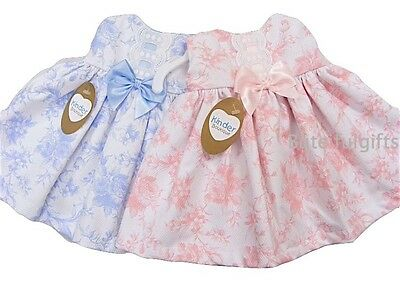 Baby Girls Spanish Style Classic Rose Print Waffle Slotted Bow Dress 0-18 Months