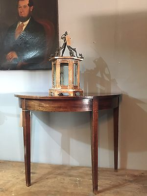 Georgian Demi Lune In Mahogany Antique Side Hall Table