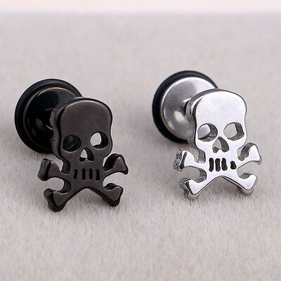 Men Women Fashion Stainless Steel Skull Punk Gothic Stud Earrings-US Stock