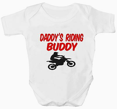 Babys White Daddy's Riding Buddy Motocross Bodysuit/vest Various Sizes New