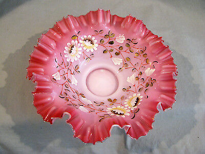 Victorian HP ENAMELED DAISIES BRIDES BASKET BOWL - CASED PEACH/PINK COLOR