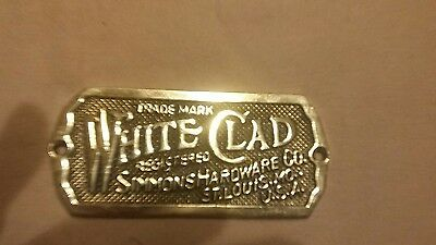 Old White Clad Simmons Hardware St. Louis MO Brass Ice Box Label