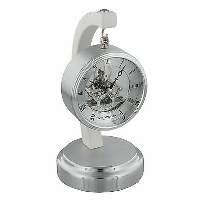Silver Metal Mantel Clock with Suspended Skeleton Dial - Piano Finish