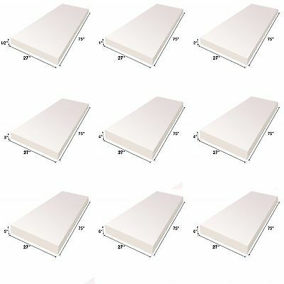 "Upholstery Foam Cushion Sheet 27""x75"" Medium Density Sofa Cushion Mattresses"