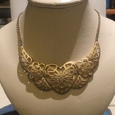 🍀Retro vintage style statement Heart Gold Tone Filagree Collar Choker Necklace