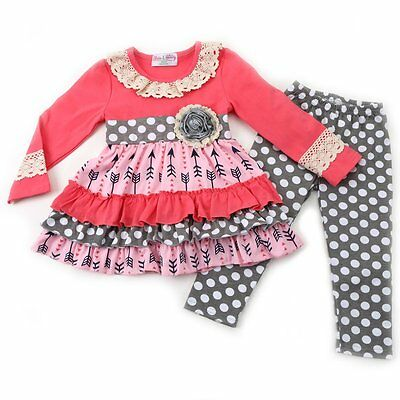 Girl's Boutique Ruffled Arrow top and Polka Dot Leggings Set - Lace- NWT