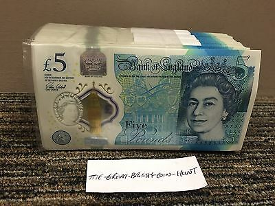 One Single Polymer Brand New £5 Note Random Serial Number 2017 Just Issued Mint