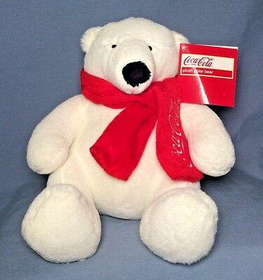 "2012 Coca Cola White Plush Polar Bear Red Scarf 9"" With Tag"