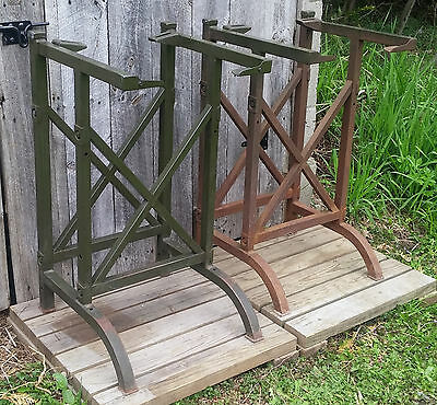 Pair Matching Antique Vintage Industrial Drafting Work Table Legs Frames