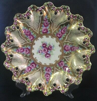 "Vintage Hand Painted 11"" Decorative Cabinet Plate Pink Roses Heavy Gold"