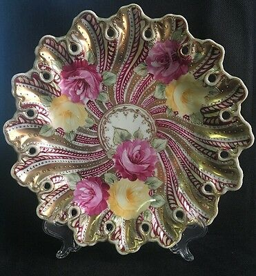 "Vintage Hand Painted 11"" Cabinet Plate Pink and Yellow Roses Heavy Gold Decor"