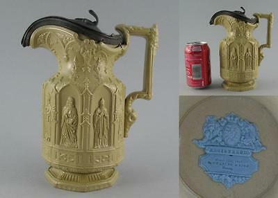 Antique 19th C. Charles Meigh Pewter Lidded Stoneware Relief Moulded Apostle Jug