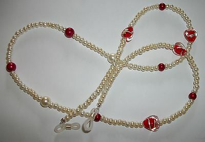 #red Hearts# Cream Beaded Red Heart Chain Glass Pearl Retainer Cord Red Ladies