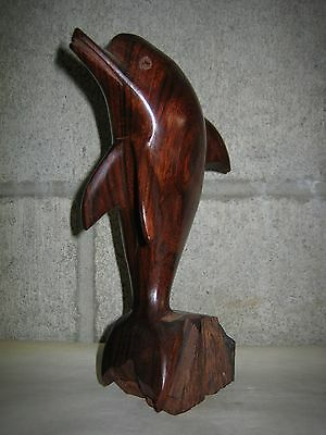 Hand Carved Wood Dolphin 7H x 2W Made in Mexico