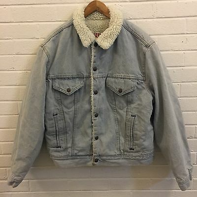 VINTAGE LEVIS DENIM JACKET SHERPA LINED VTG 80s LIGHT BLUE SZ 44R MENS