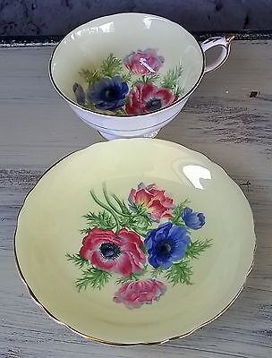Paragon sunny yellow wide mouth tea cup & saucer set beautiful poppies