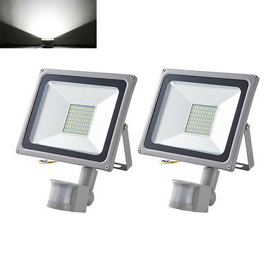 2X 50W LED Floodlight PIR Motion Sensor Outdoor Security Lamp IP65 Cool White