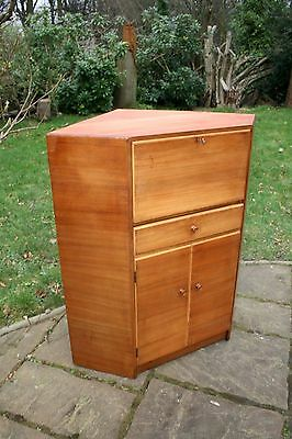 Retro Walnut Corner Bureau with drop down writing desk & key