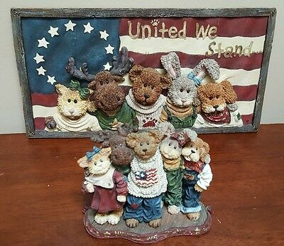 Boyds Bears #227812 Bearyproud & Pals UNITED WE STAND Figurine & Plaque Lot