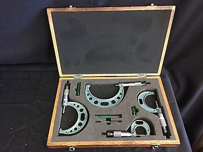 """Mitutoyo 103-930 Outside Micrometer Set with Standards, Ratchet Stop, 0-4"""" Range"""