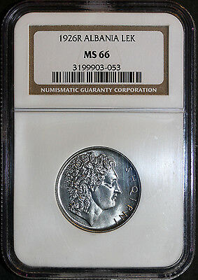 1926R Albania Lek NGC MS66, Brilliant Gem
