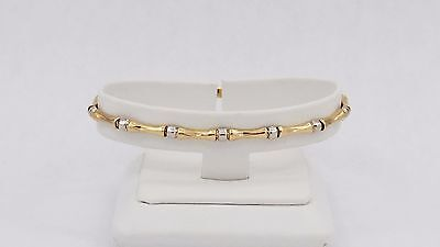 14k Yellow and white Gold Bamboo Bracelet 7.0""