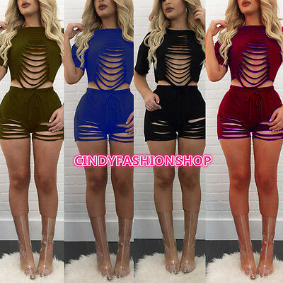 USA Summer Women Cut Out Top + Shorts 2 PC Set Fashion  Hollow Out Club Party