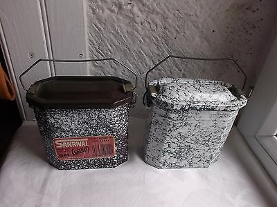 French antique vintage graniteware enameled lunch box lunch pail a pair