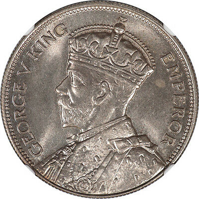 New Zealand 1934 George V Silver Half Crown NGC MS-65