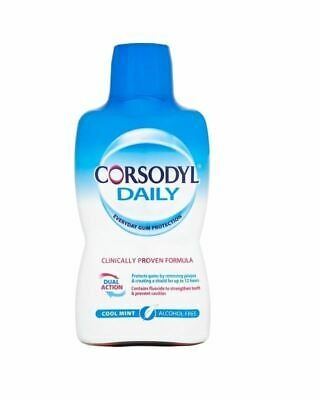 Corsodyl Daily Cool Mint Alcohol Free Mouthwash - 500ml 1 2 3 6 Packs