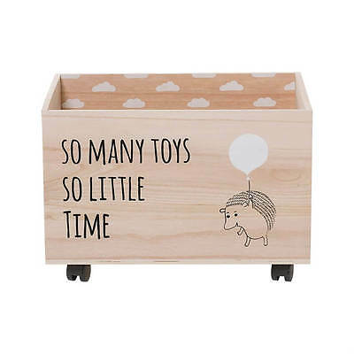 Wood Toy Box with Wheels, So Many Toys