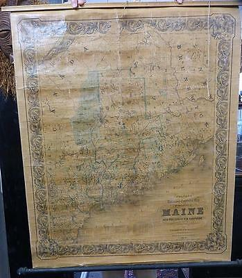 "Rare Colton & Hall1855 Maine Wall Map In Very Good Condition - 35"" X 43"""