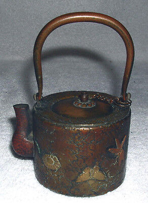 19th century Hand Made Chinese Bronze Miniature Mixed Metal Teapot/Hot Water