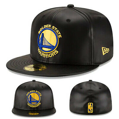 sports shoes ac975 026eb New Era NBA Golden state Warriors Fitted Hat Black Gold Faux Leather Game  Cap