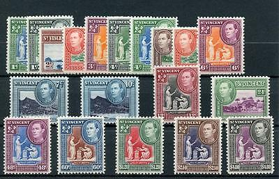 St Vincent 1949-52 set SG164/77 MNH/MVLH - just 2 not MNH