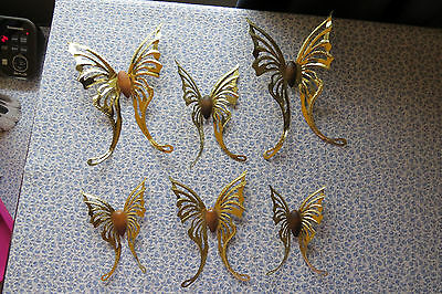 Lot Of 6  Brass And Wood Butterflies Vintage Home Interiors Wall Hangings !!! • $14.99