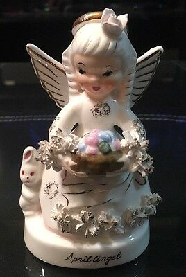 "Vintage 'Napco' Figurine•""April Angel"" with Basket of Eggs & Bunny (A1364)"