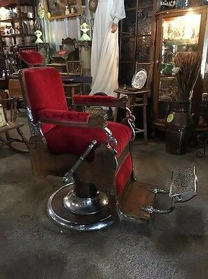 STUNNING 1800's Antique Koken Wooden Barber Chair - A MUST SEE!