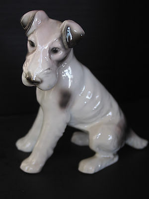 """Large VTG Antique GERMANY Porcelain Dog Figure Wire Haired Fox Terrier 6"""" FC"""