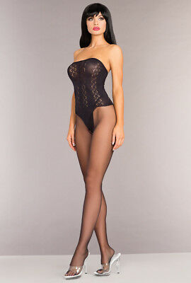 Be Wicked black strapless opaque bodystocking