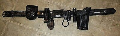 """34"""" Black Leather DUTY MAN Basket Weave Police Belt with 9 accessories."""