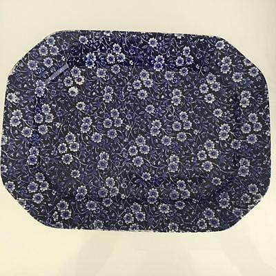 Staffordshire (Burleigh Stamped) Blue Calico Large Oval Platter