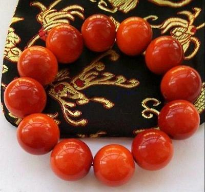100% Beautiful Chinese Natural Handcraft Red Jade Bracelets 20MM