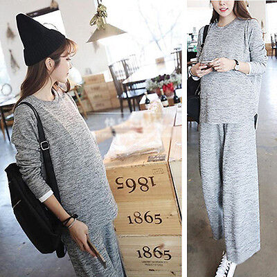 Pregnant Womens Outfits Maternity Ladies Nursing Tops + Wide Leg Over Bump Pants
