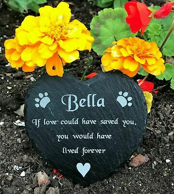 Engraved Personalised Slate Heart Pet Memorial Grave Marker Plaque For a Dog