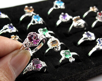 Wholesale 10pcs/lot Fashion Women 925 Silver Rings Mixed Color Sz 6-9 Jewelry