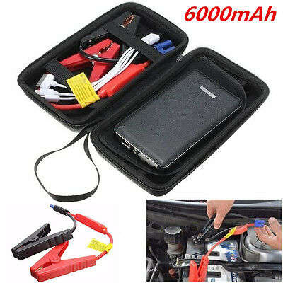 12V Portable Auto Car Jump Starter Power Bank Battery Charger Booster LED Black