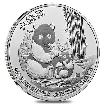 Niue - 2 Dollars ($2) - 2017 - Panda with Cub - 1 Oz. - Silver 999 - BU